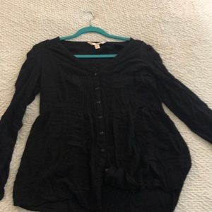 Long sleeve black button down tunic
